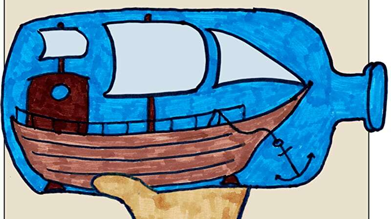 The logo art for The Impossible Bottle - a hand holding a ship in a bottle aloft, in felt tip pen
