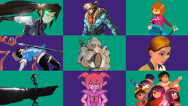 Characters from Anno: Mutationem, There Is No Light, Jack Move, The Legend Of Tianding, Tower Princess, Crowns and Pawns, White Shadows, Demon Turf and Tunche on a green and purple chequered background
