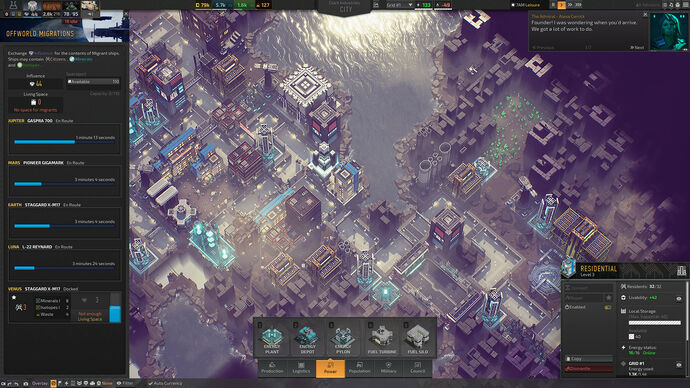 Industries Of Titan - A top-down view of the city on Titan, showing an interface for selecting a power structure to build and another panel tracking migrant ships from other planets such as Earth, Mars, and Jupiter.