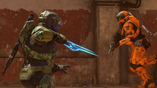 Two Spartans do battle in Halo Infinite's multiplayer