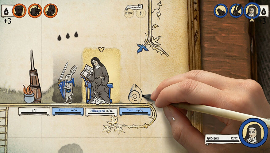 Inkulinati - A real human hand draws medieval art in a book. Nuns and armed hares are dressed in blue and have names and stats for a turn-based game.