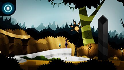 A small unicycle character crosses a cartoon landscape in Insight Of L