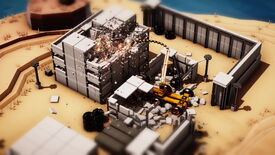 A screenshot from Instruments Of Destruction which shows a wrecking ball bulldozer smashing up some buildings.