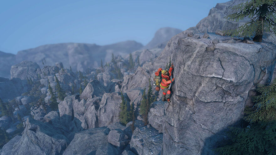 A screenshot of Insurmountable showing a man in red climbing gear clinging to the side of a mountain with a vista stretching behind him.
