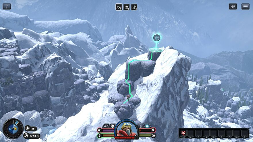A screenshot of Insurmountable, a roguelike about climbing a mountain, showing a snowy mountain made of hexes with a route plotted by a line towards the mountain's peak.