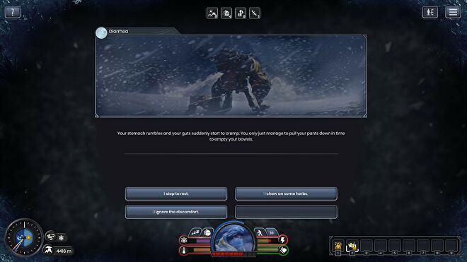 A screenshot of Insurmountable, showing a narrative event in which the player experiences diarrhoea on the mountainside.