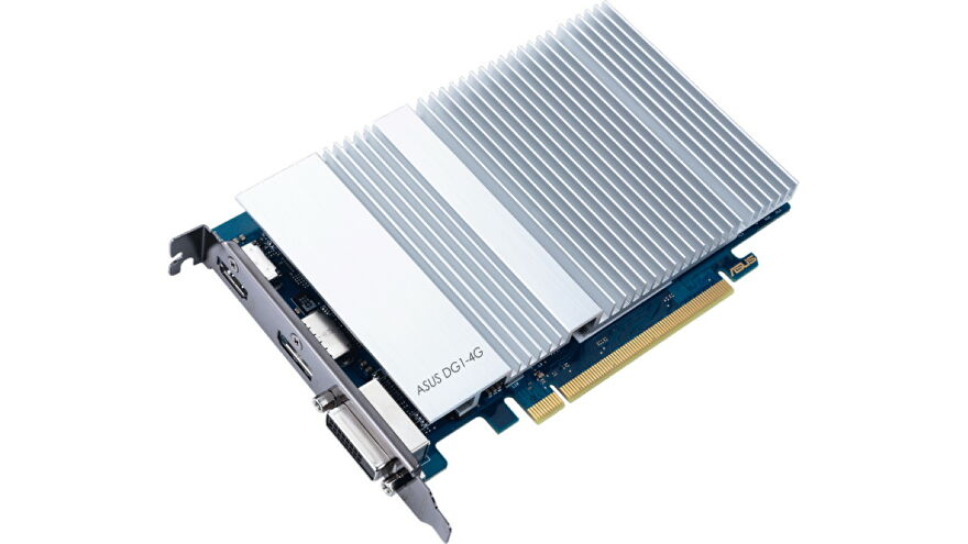 A photo of Intel's first DG1 Xe graphics card
