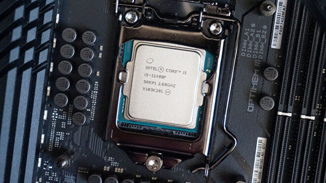 Intel's Core i5-11400F processor seated on a motherboard