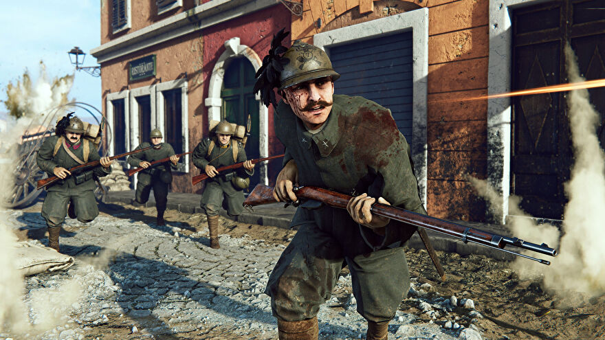 Soldiers under fire in a town in an Isonzo screenshot.