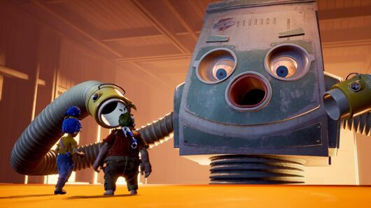 May and Cory face down a sentient vacuum cleaner boss in It Takes Two. The vac has big staring round eyes and a round gaping mouth.
