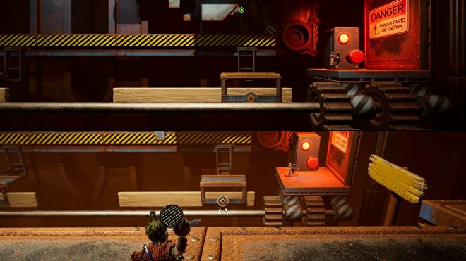 Some co-op platforming in It Takes Two. On the top half of the screen, May is waiting to time her jump onto a moving saw platform in a workshop. On the bottom half, Cody is aiming to throw a nail at the platform and pin it in place for May.