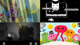 A handful of games in the Itch.io bundle for Palestinian Aid. In clockwise order: Glittermitten Grove, Minit, Pikuniku and Liyla And The Shadows Of War.