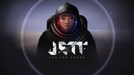 A girl in a space suit with the game logo Jett: The Far Shore in front of her