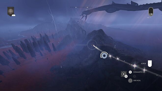 A small spaceship flies across a stormy planet in Jett: The Far Shore