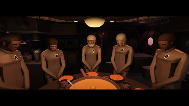 Scouts pray together around a table filled with soup in Jett: The Far Shore.