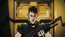 A soldier man looks angry while holding a gun in Jupiter Hell