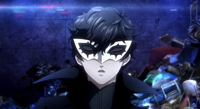 Joker closes his eyes before a battle in Persona 5 Strikers.