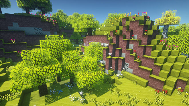 A Minecraft screenshot of a landscape displayed using the Jolicraft Texture Pack.