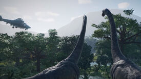 Image for Jurassic World Evolution shows off napping dinosaurs and an angry Tyrannosaurus