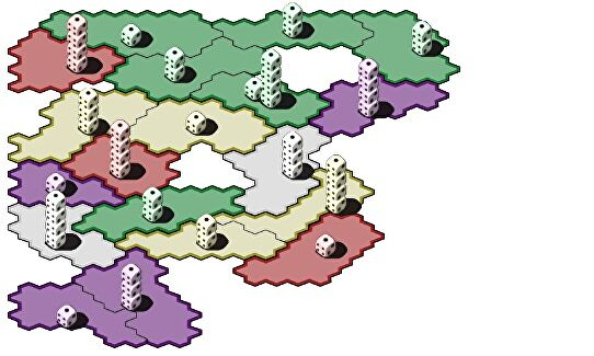 An image of Kdice, showing stacks of dice on a map of divided, differently coloured territories.