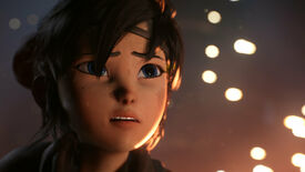 Kena: Bridge Of Spirits: a close-up of Kena's face, with sparks of flame in the air behind her.