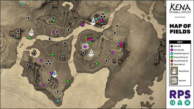 A map of the Fields area of Kena: Bridge Of Spirits with all collectible locations marked.