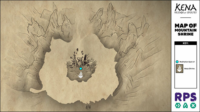A map of the Mountain Shrine area of Kena: Bridge Of Spirits with all collectible locations marked.