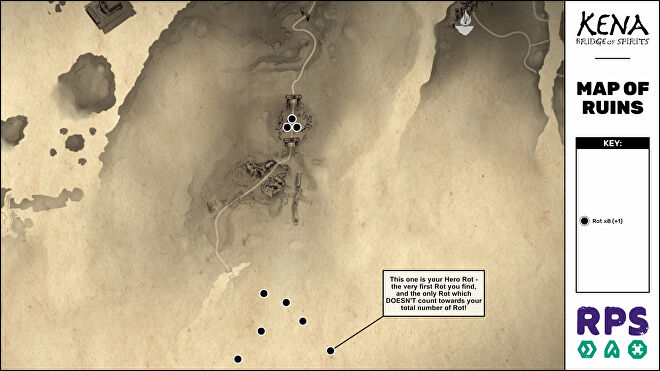 A map of the Ruins area of Kena: Bridge Of Spirits with all collectible locations marked.