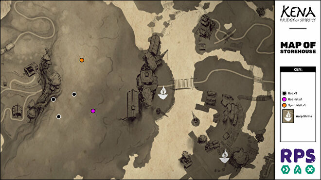 A map of the Storehouse area of Kena: Bridge Of Spirits with all collectible locations marked.