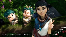 Kena: Bridge Of Sprits photo mode - Kena makes a peace sign while two child characters pose beside her. The interface shows options for zooming, focusing, taking a photo, and more.