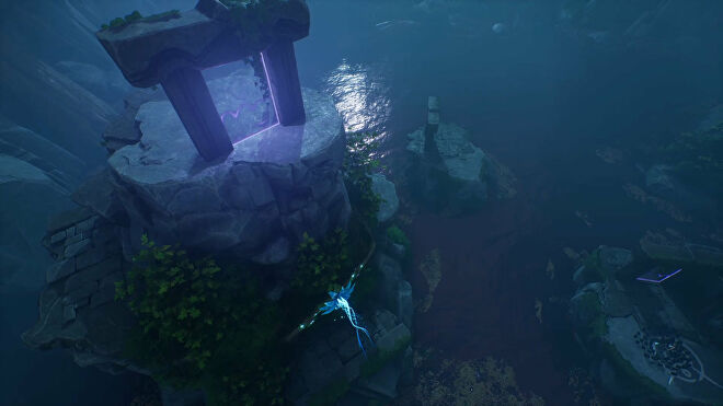 An establishing shot of part of the Warrior Path in Kena: Bridge Of Spirits showing a portal on top of a small mountain.
