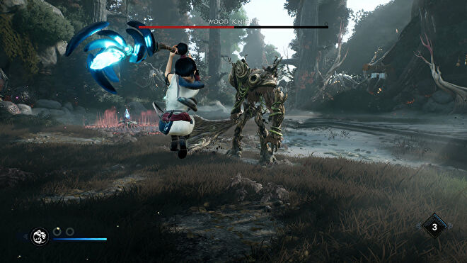 Kena: Bridge Of Spirits: Kena winds up a Rot Hammer attack against a Wood Knight.