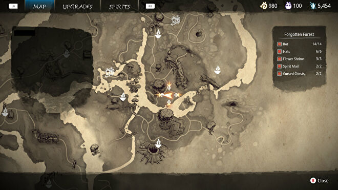 Part of the map of Kena: Bridge Of Spirits where a Spirit Mail collectible is hidden nearby.