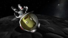 A screenshot of Kerbal Space Program showing a screaming, green Kerbal in a space suit, in the foreground, floating in space upside down.