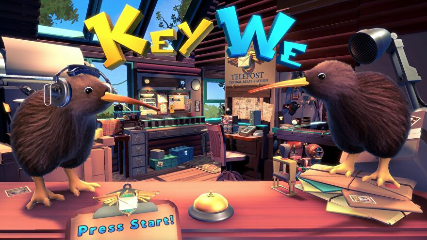 The title screen of KeyWe, showing the telepost office in the background and two kiwi birds standing on a desk in the foreground