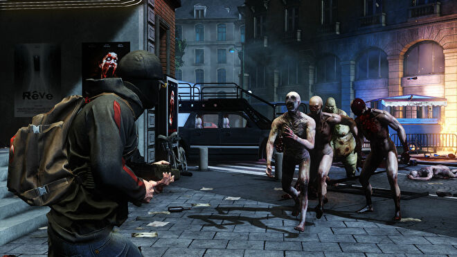 A masked player fires their gun at a horde of Zed zombies in Killing Floor 2