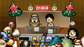A pixel art scene showing two radio hosts - Yoshiro Kimura and Yamaguchi Quest - talking, while game characters cheer them on outside