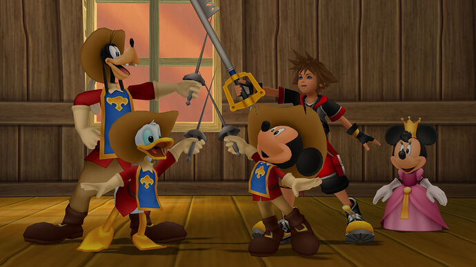 Sora, Mickey Mouse, Goofy, Donald Duck and Minnie Mouse joining swords as the three musketeers