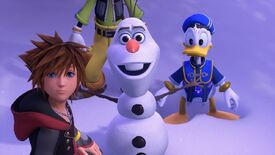 A screenshot of Kingdom Hearts 3 showing Olaf and other Disney characters.