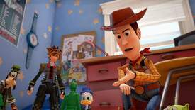 Woody has a go at the soldier toy with Sora and Donald Duck looking on.