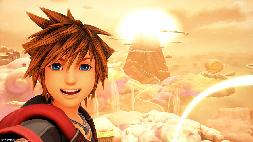 Sora takes a selfie at Olympus in Kingdom Hearts 3.