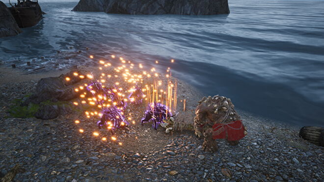 An image from King's Bounty 2 which shows a stone golem smashing the ground and creating an orange explosion around three purple demon dogs.