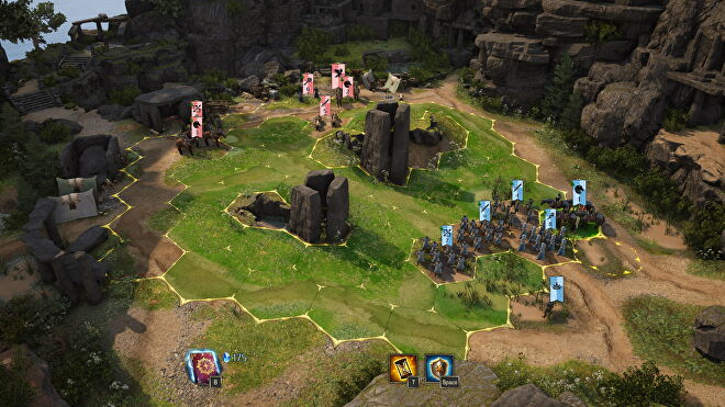 An image from King's Bounty 2 which shows two armies on either side of a hex-grid.
