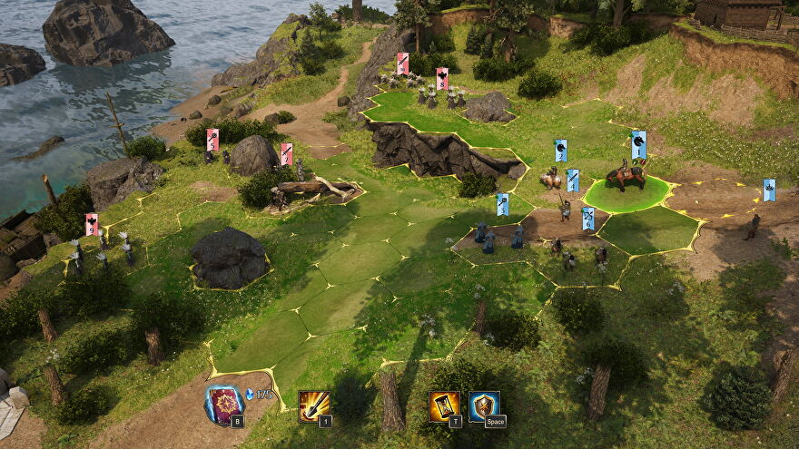 An image from King's Bounty 2 which shows a hex-grid battlefield with units poised to fight.