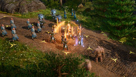 Wizards fighting golems on a hex battlefield in a King's Bounty 2 screenshot.