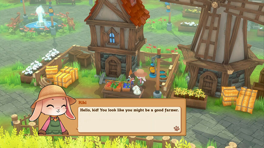 A screenshot of Kitaria Fables showing a cute house, windmill, and a rabbit who is telling the player - a cat - that they look like they would be a good farmer.