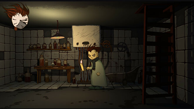 The protagonist of Knock-Knock, a pale-faced boy with a widow's peak in his hair, holding a candle and standing in a room with tiled walls, full of bottles