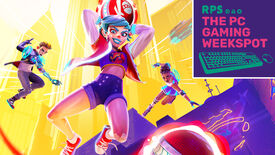 Key art for Knockout City, wherein a girl is holding a ball and about to throw it in front of her. The top right of the image shows The PC Gaming Weekspot logo.