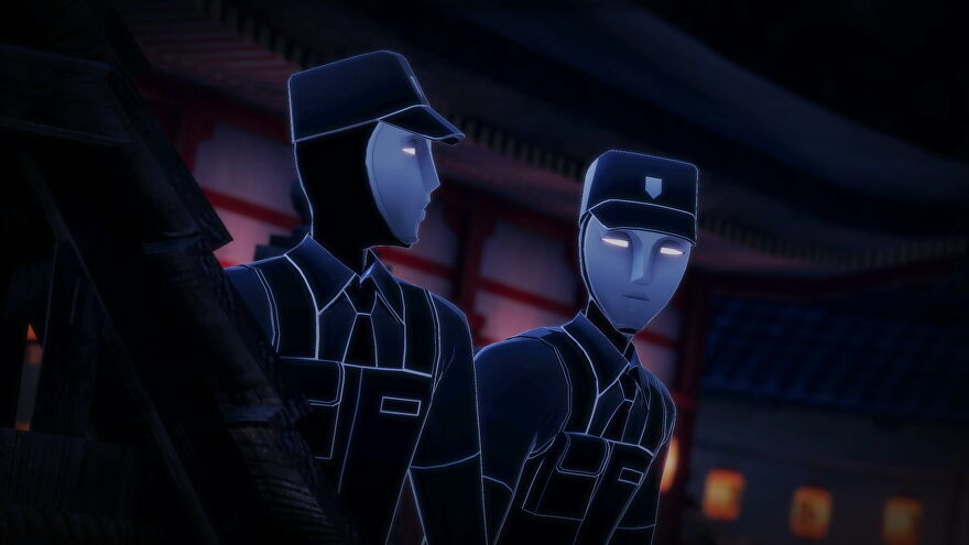 Two guards look around Persona 5 Strikers' Kyoto jail.