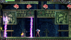 A fishy room in La-Mulana 2 -The Tower of Oannes-, including a fish walking on human legs with red high heels.